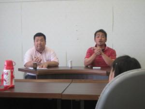 見学後、2階の事務所にて質疑応答形式の学習会の様子