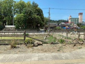 青井阿蘇神社前。流された狛犬が転がったままになっていました