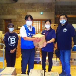 球磨村物資支援センターへ洗剤・カップ麺・飲料をお届けしました