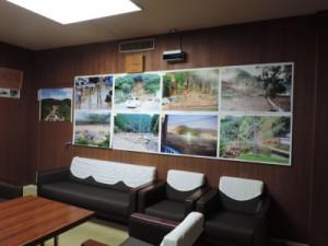 応接室に貼られた豪雨災害の写真